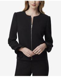 Tahari - Ruffle-sleeve Zip Jacket - Lyst