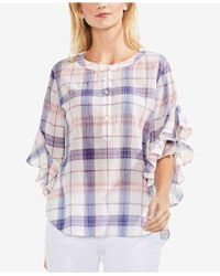 Vince Camuto - Plaid Ruffle-sleeve Top - Lyst