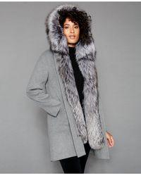 The Fur Vault Fox-fur-trim Hooded Parka Coat - Gray