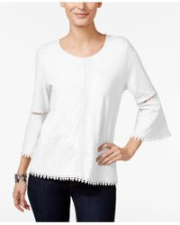 Style & Co. - Crochet-trim Bell-sleeve Top - Lyst