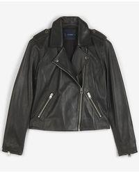 Lucky Brand Leather Moto Jacket - Black