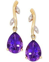Macy's - Amethyst (1-9/10 Ct. T.w.) & Diamond Accent Drop Earrings In 14k Gold - Lyst