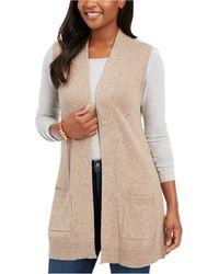 Karen Scott Petite Marled-knit Sleeveless Vest, Created For Macy's - Natural