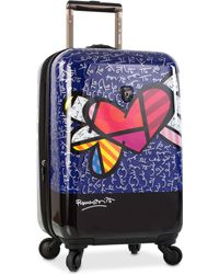 """Heys Britto Heart With Wings 21"""" Carry-on Expandable Hardside Spinner Suitcase - Blue"""
