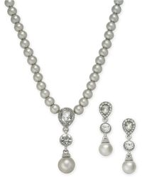 Charter Club Cubic Zirconia And Imitation Pearl Lariat Necklace & Drop Earrings Boxed Set, Created For Macy's - Metallic