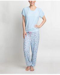 Muk Luks T-shirt & Printed Pants Pajama Set - Blue