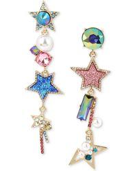 Betsey Johnson - Gold-tone Multi-stone, Star & Imitation Pearl Mismatch Linear Drop Earrings - Lyst