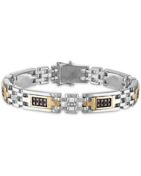 "Macy's 1 Carat Brown And White Diamond 8 3/4"" Bracelet In Sterling Silver And 10k Yellow Gold - Metallic"