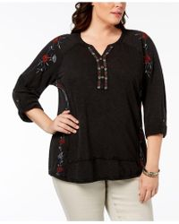 10d7c41b876ab Style   Co. - Plus Size Cotton Embroidered Distressed Peasant Top