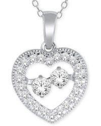 Macy's - Diamond Heart Pendant Necklace (1/4 Ct. T.w.) In 10k White Gold - Lyst