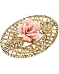 2028 Gold-tone Pink Porcelain Rose Filigree Brooch - Metallic