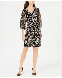 INC International Concepts - I.n.c. Balloon-sleeve Faux-wrap Dress, Created For Macy's - Lyst