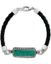 Effy Collection - Men's Manufactured Turquoise (27-1/2 X 8mm) Black Leather Bracelet In Sterling Silver - Lyst