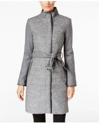 Vince Camuto - Petite Faux Leather Trimmed Belted Boucle Wool Coat - Lyst
