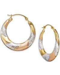 No Vendor | Tri-tone Textured Hoop Earrings In 10k Gold | Lyst