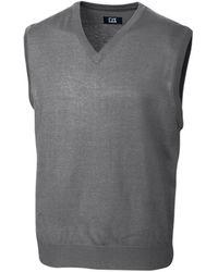 Cutter & Buck Big And Tall Douglas V-neck Sweater Vest - Grey