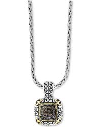 Effy Collection   Diamond Filigree Square Pendant Necklace (1/2 Ct. T.w.) In Sterling Silver And 18k Gold   Lyst