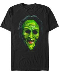 Fifth Sun Witch Mask Big Face Costume Short Sleeve T-shirt - Black