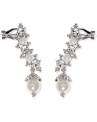 Marchesa - Swarovski & Imitation Pearl Ear Climber Earrings - Lyst