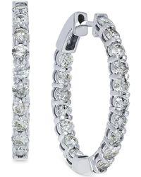 Macy's - Diamond Hoop Earrings In 10k White Gold (4 Ct. T.w.) - Lyst