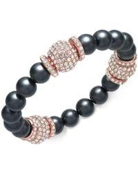 Joan Boyce - Rose Gold-tone Pavé Bead & Gray Imitation Pearl Stretch Bracelet - Lyst