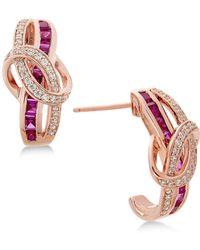 Macy's - Certified Ruby (1-1/3 Ct. T.w.) And Diamond (1/4 Ct. T.w.) Drop Earrings In 14k Rose Gold - Lyst