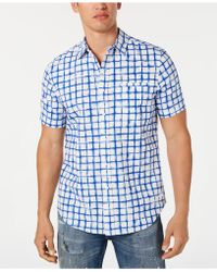 Sean John - Grid Print Short Sleeve Shirt - Lyst