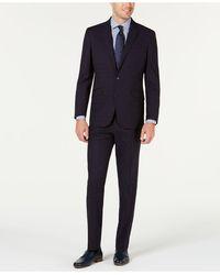 Kenneth Cole Reaction Slim-fit Ready Flex Stretch Navy Blue Windowpane Suit
