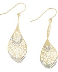 Macy's - Two-tone Openwork Teardrop Earrings In 14k Gold - Lyst