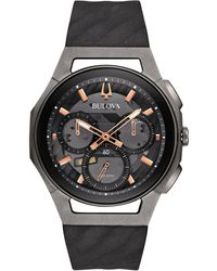 Bulova - Men's Chronograph Curv Black Rubber Strap Watch 44mm 98a162 - Lyst
