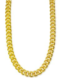 "Macy's Curb Link 24"" Chain Link Necklace In 14k Gold-plated Sterling Silver - Metallic"