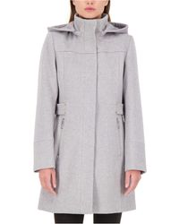 Vince Camuto Hooded A-line Walker Coat - Gray