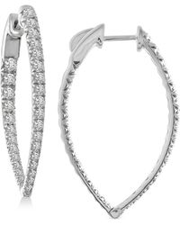 Macy's Diamond Teardrop In & Out Hoop Earrings (2 Ct. T.w.) In 14k White Gold - Metallic