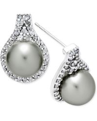 Macy's - Cultured Tahitian Pearl (9mm) And Diamond (5/8 Ct. T.w.) Drop Earrings In 14k White Gold - Lyst