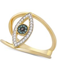 Wrapped in Love - Tm Diamond Evil Eye Ring (1/6 Ct. T.w.) In 14k Gold, Created For Macy's - Lyst