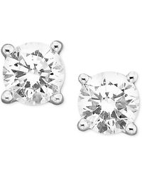 Macy's Certified Colorless Diamond Stud Earrings In 18k White Gold (1/3 Ct. T.w.)
