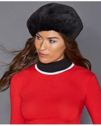 The Fur Vault Mink Fur Beret - Black