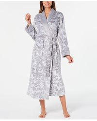 Charter Club Petite Scroll Print Plush Long Robe, Created For Macy's - Gray