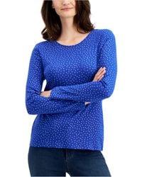 Charter Club Cotton Metallic-dot T-shirt, Created For Macy's - Blue