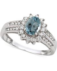 Macy's - Aquamarine (3/4 Ct. T.w.) & Diamond (1/3 Ct. T.w.) Ring In 14k White Gold - Lyst