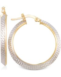 Macy's - Two-tone Textured Hoop Earrings In 14k Yellow And White Gold - Lyst