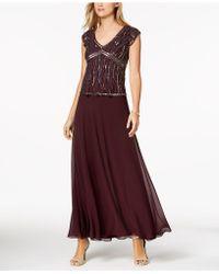 J Kara Beaded-bodice A-line Gown - Purple