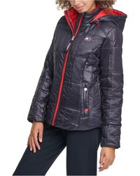 Tommy Hilfiger Sport Box-quilted Hooded Puffer Coat - Black