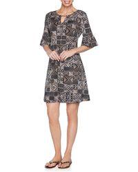 Ruby Rd. Plus Size Bead Batik Puff Dress - Black