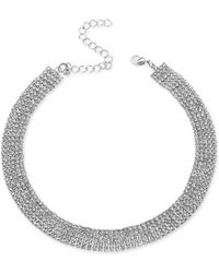 """INC International Concepts Silver-tone Rhinestone Wide Choker Necklace, 13"""" + 3"""" Extender, Created For Macy's - Metallic"""