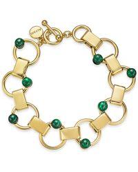 Alfani Gold-tone & Green Malachite Stone Link Bracelet, Created For Macy's - Metallic