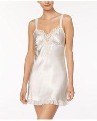 Linea Donatella Satin Midnight Short Chemise Nightgown - White