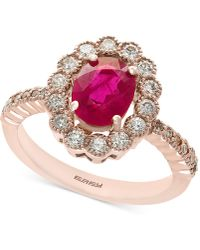 Effy Collection - Certified Ruby (1-3/8 Ct. T.w.) And Diamond (5/8 Ct. T.w.) Statement Ring In 14k Rose Gold - Lyst