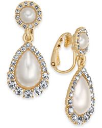 Charter Club Crystal & Imitation Pearl Clip-on Drop Earrings, Created For Macy's - Multicolor