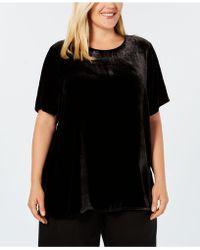 Eileen Fisher - Plus Size Velvet Short-sleeve Top - Lyst